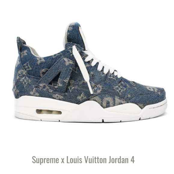 Tailormade Customs Shoes   Supreme X Louis Vuitton Jordan 4 Handmade ... 0ca4b8048b1
